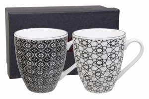 Set 2 Mug Nippon Black Flower & Stripe 8284