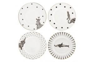 Set quattro piatti Mixed Animals Monochrome A22001007