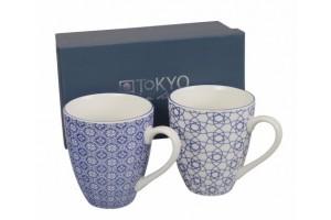Set 2 Mug Nippon Blue Flower & Stripe 8307